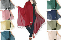 Luxurious Kashmiri 100% Fine Wool Pashmina Shawl Wrap Scarf 24 Colours
