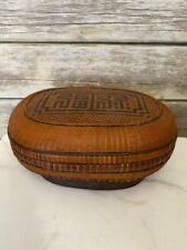 Vintage Chinese Bamboo Woven Basket with Lid Star Flower Wan Calligraphy