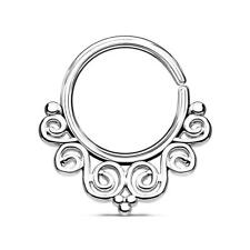 Silver Ion Plated Vintage Filigree Bendable Nose Septum / Ear Cartilage Hoop