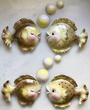10 PIECE! • VINTAGE BRADLEY JAPAN Lusterware Fish Bubbles Ceramic Wall Art RETRO