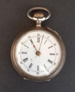 Antike kleine Taschenuhr Handaufzug 800er Silber Remontoir 4 Rubis