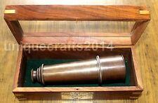 Nautique Laiton Télescope avec boîte en bois vintage marine navy decor de collection objet