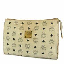 Auth MCM Vintage Logos Monogram Leather Clutch Bag F/S 6967b