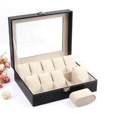 Leather 10 Slots Wrist Watch Display Box Storage Holder Organizer Windowed Case