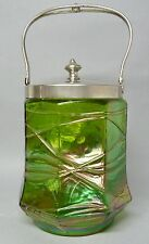 (g810) cristal Jugendstil Cookie Jar para 1900, verde, lüstrierend, ocho cuadrada,