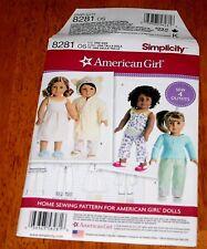 "Simplicity Pattern #8281 - Doll Clothes 18"" Dolls New - American Girl Sleepwear"