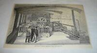 1878 magazine engraving ~ HYDRAULIC ENGINES US TREASURY BUILDING, Washington, DC