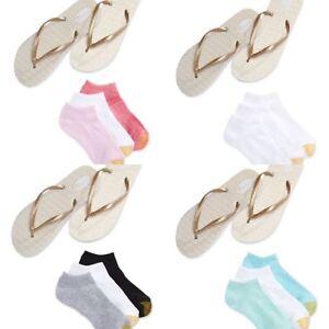 GOLDTOE women's 3-pair Liner Socks w/ Metallic Flip Flops LARGE 8/9