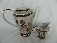 2 Piece Egyptian Pharaoh Collectible Porcelain Pharaoh Tea Pot Creamer Set Sale!