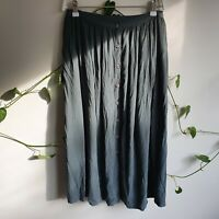 Country Road Vintage 90s Green Buttoned Midi Skirt S High Rise Pleated Pockets