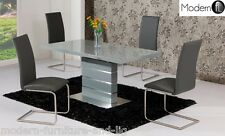 MODERN SMALL GREY AND STEEL HIGH GLOSS EXTENDING DINING TABLE, CHAIRS OPTION