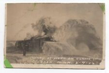 1912 Trimmed RPPC Postcard Photo of Rotary Train at Work in Snow at Storden MN