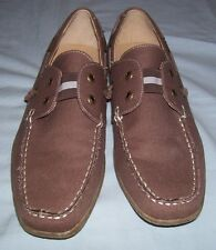 MERONA Driving Loafers Moccasins Brown Canvas Textile Uppers Size 8 EUC MINT!!!
