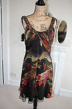 BNWT Mikael Aghal Silk Multi Dress Floral Embellished Beads Sleeveless 10 Small