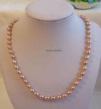 Genuine Silver AAAAA 6-7mm oval shape freshwater pearls necklace 45mm Purple