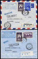 Kambodscha Khmere 1958 Firmen-Reko-Briefe Elefant Angkor Vat nach Schweden / 29