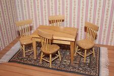 Tisch und 4 Stühle, Naturholz klar lackiert, für Puppenhaus, Puppenstube 1:12