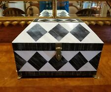 BEAUTIFUL VINTAGE TESSELLATED EBONY & BONE BOX