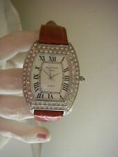 Marcel Drucker Collection women's watch rhinestone accents red leather band