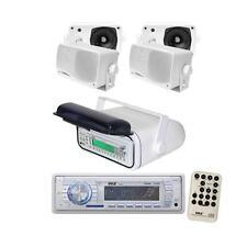 "NEW Pyle Marine AM/FM USB iPod Receiver Stereo + 4x 3.5"" 200W Speakers + Housing"