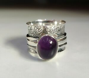 Amethyst Spinner Ring 925 Sterling Silver Plated Handmade Ring Size 7.5 k214