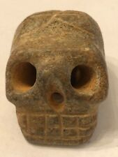 Ancient Hand Carved Stone Skull Pendant / Amulet / Walking Stick Topper