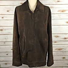Banana Republic Brown Suede Leather Zip-Front Jacket Men Large B6