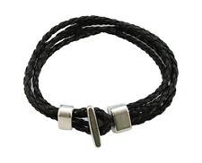6PCS Black Leather Multi-layer Hook Clasp Bracelets 20cm #23040