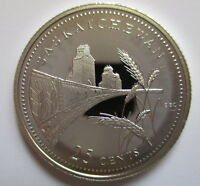 CANADA 1867-1992 ANNIVERSARY 25¢ SASKATCHEWAN SILVER PROOF QUARTER COIN
