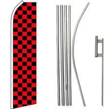 Red & Black Checkered Swooper Flag & 16ft Flagpole Kit/Ground Spike