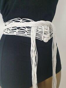 White Vintage Macrame Boho Beaded Tassel Belt ONE SIZE 70's 80's 90's RETRO