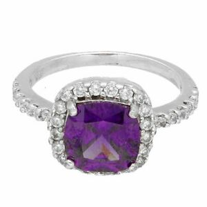 Sterling Silver Amethyst & Simulated Diamond Halo Cluster Ring (Size L 1/2)