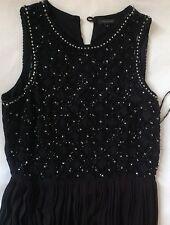 Long Black Sequin Embelished Pleated Dress - River Island Size UK 8/34 EU