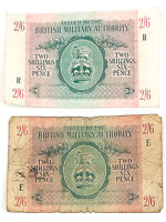 British Military Authority 2 Shillings 6 Pence 1943 WW2 Currency Banknote - 2pk