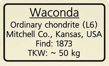 Meteorite label Waconda