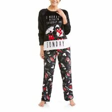 Disney Minnie Mickey Mouse Ladies 2 Piece Plush Pajamas PJ Set New Large (12-14)