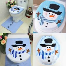 Merry Christmas Toilet Seat Cover Xmas Santa Claus Bathroom Mat Home Decorations