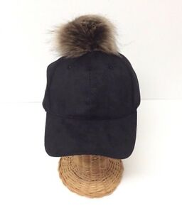 NEW Women Girls Black Wool Blend With Faux Fur POM Baseball Cap Hat Adjustable