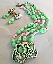 Vintage Miriam Haskell Pink Shell Green Glass Wired Bead Earrings Necklace