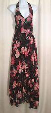 NWT STELLA LUCE Size Large Sheer Black Pink Floral Halter Romper Shorts DRESS