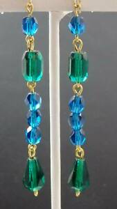 Czech Emerald Barrel, Pear Crystal Deep Teal Crystal  Vintage Earrings  T0