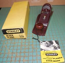 NOS VINTAGE Stanley No.220 Block Plane in Original Box MADE IN NEW BRITAIN CTUSA