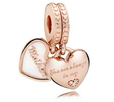 Authentic PANDORA ROSE Mother and Daughter Hearts Hanging Charm 782072EN23
