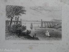 Librería de antiguo grabado; puente colgante de Menai, Bangor/Anglesey (Ys lunes) - c1850