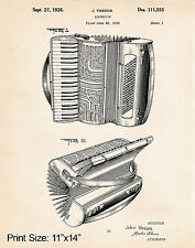 """1938 Accordion Drawing 11""""x14"""" Patent Poster Print Gift Ideas Hohner Accordions"""