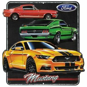 Classic & Modern Mustang Embossed Metal Sign * Super Colorful & Ships FREE to US