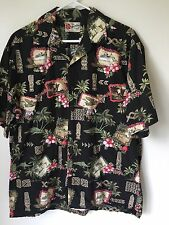 Men's Hilo Hattie Black Hawaiian Tiki Airplane Cruise Ship Shirt Size L (LD4)