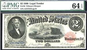 1880, $2 FR 56 Large Size Legal - PMG 64 EPQ