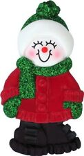 Snowgirl with Expression Little Sister Personalized Christmas Tree Ornament