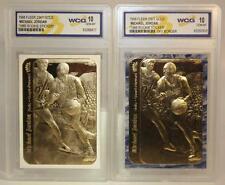 2-Card Set MICHAEL JORDAN 1986 Fleer ROOKIE STICKER 23KT Gold Cards GEM MINT 10